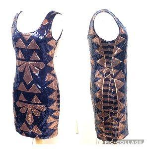 F21 navy & copper geometric sequin bodycon dress L